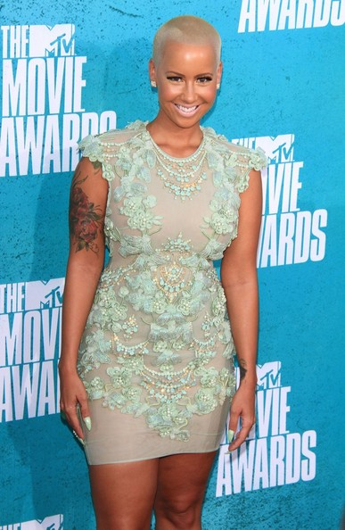 Amber Rose In Sheer Mint Green Dress At The 2012 MTV Movie Awards