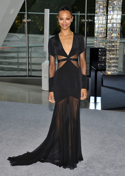 Zoe Saldana Wows In Black Prabal Gurung Gown At The 2012 CFDA Awards