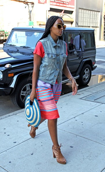 Solange Knowles In Denim Vest and Bold Striped Dress