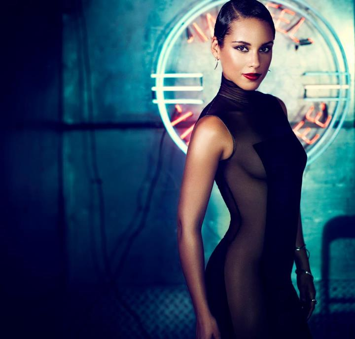 Alicia Keys With Slicked Back Hair, Red Lips and Sheer Dress For Her Promo Pic