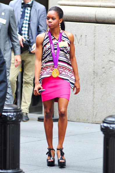 Check Out Gabby Rocking Hot Pink Skirt In NYC