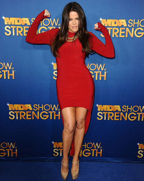 Khloe Kardashian-Odom Looks Red Hot In High Low Hem Dress