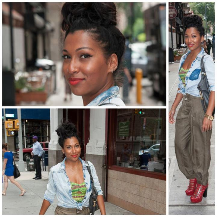 Melanie Fiona Looks Chic Wearing Messy High Bun Hairstyle