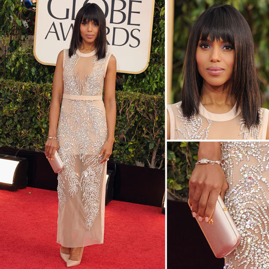 Kerry Washington Show of Blunt Bang Bob At The 2013 Golden Globe Awards