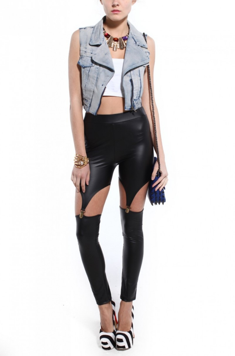 Are You Bold Enough To Work This Trend -  Garter Clip Leggings