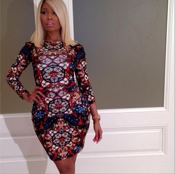 Hayden Panettiere Vs. Nicki Minaj In Alexander McQueen Long-Sleeve Stained Glass Jersey Dress 4