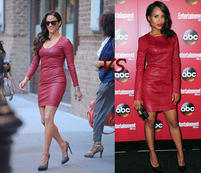 Paula Patton Vs. Kerry Washington In Red Leather Dress 3