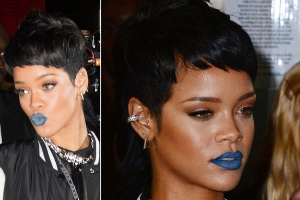 Rihanna Wears Blue Lipstick