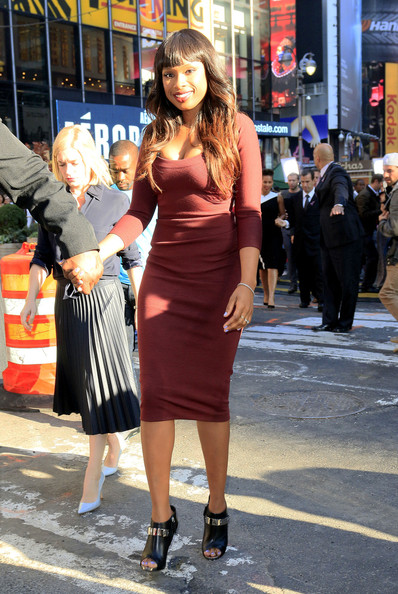 Jennifer Hudson's Fall Style Maroon Midi Dress and Ombre Colored Locks 2