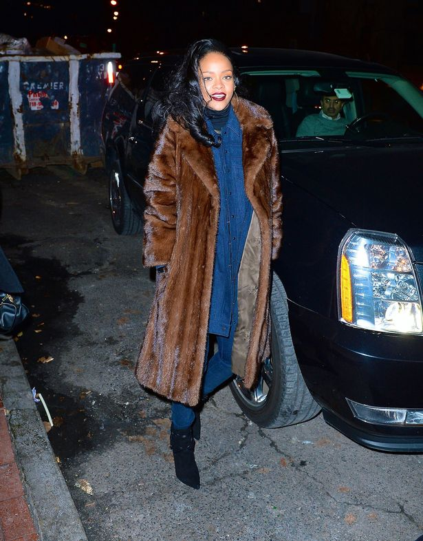 Rhiana Rocks Galmmed Out Fur Coat