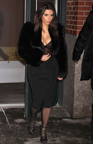 Kim Kardashian Tries Out Fur Coat Trend