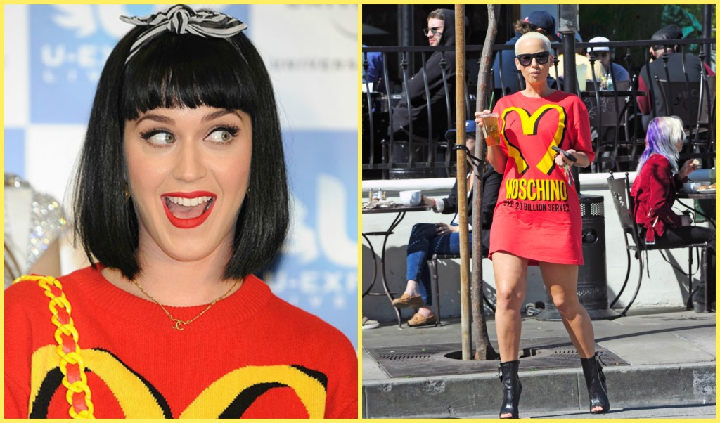 Who Wore It Best Katy Perry Vs. Amber Rose In McDonald's Inspired Moschino Sweater Dress Main