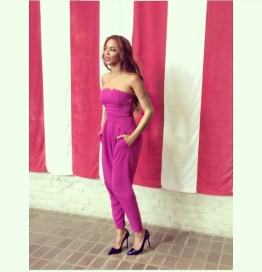 Celebrity Style - Beyonce Wears Magenta Matthew Williamson Jumpsuit