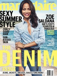 On The Cover - Zoe Saldana for Marie Claire August 2014