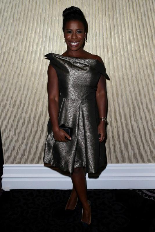 Who Wore It Best - Uzo Aduba Vs. Emily Vs. Kelly In Vivienne Westwood Anglomania Halton Draped Metallic Jacquard Dress 3