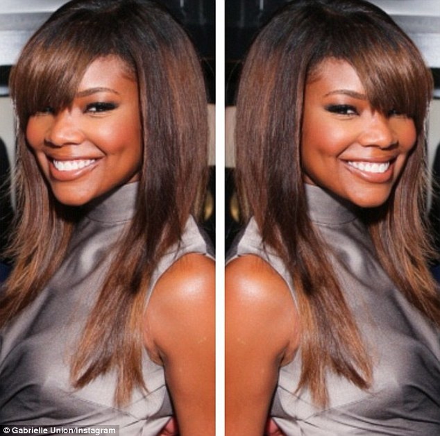 Gabrielle Union Gets New Hairstyle Bangs Brown Highlights The