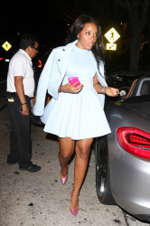 Angela Simmons is fashionable in powder blue for a Sunday night dinner date