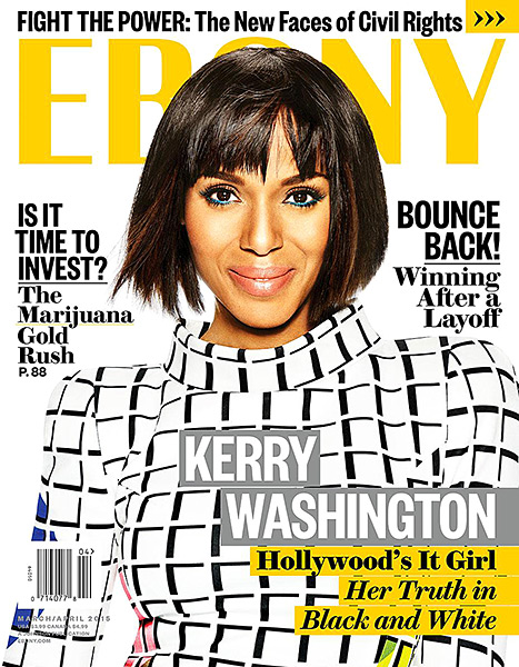 Kerry Washington Shows off Bob With Bangs In Ebony Magazine