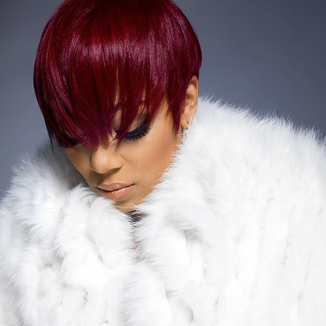 Singer Monica Brown Debuts New Red Haircolor + Pixie Haircut