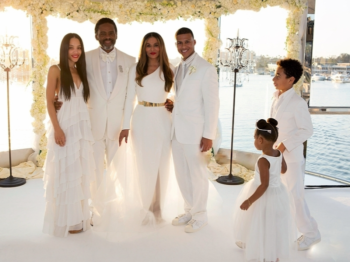 Tina Knowles and Richard Lawson's Wed In All White
