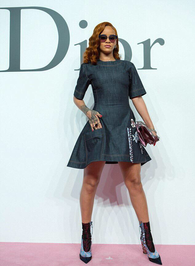Slayed - Rihanna Spotted In Custom Dior Denim Dress