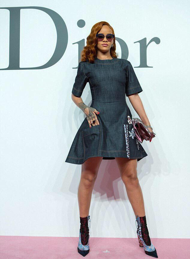 Slayed - Rihanna Spotted In Custom Dior Denim Dress