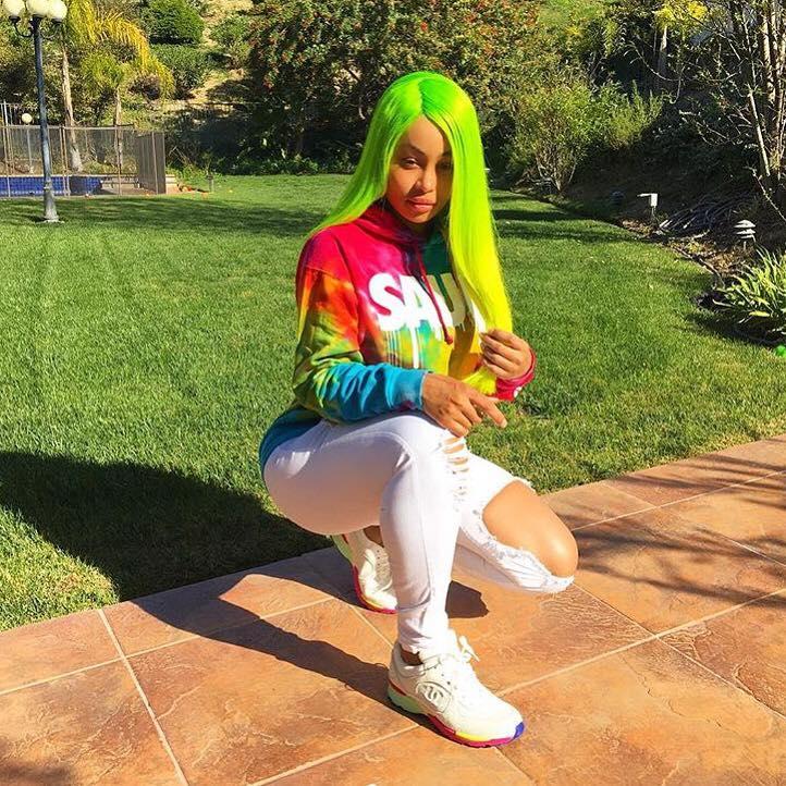 Blac Chyna Rocks Bold Neon Green Hair Color