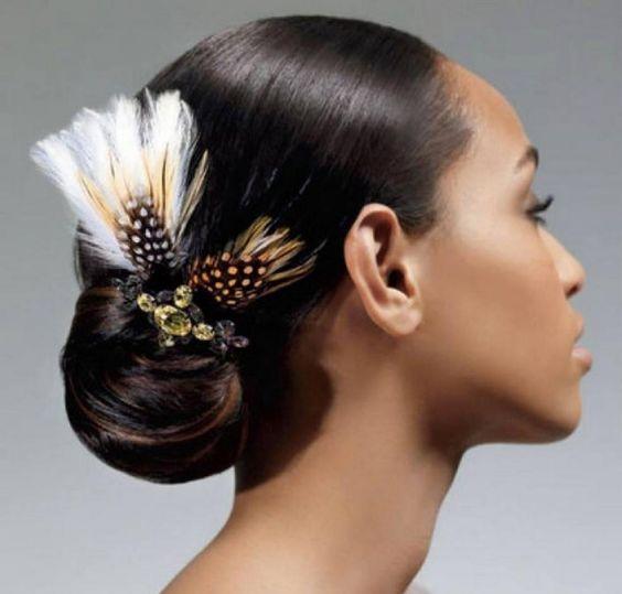 43-black-wedding-hairstyles-for-black-women-feather-bun