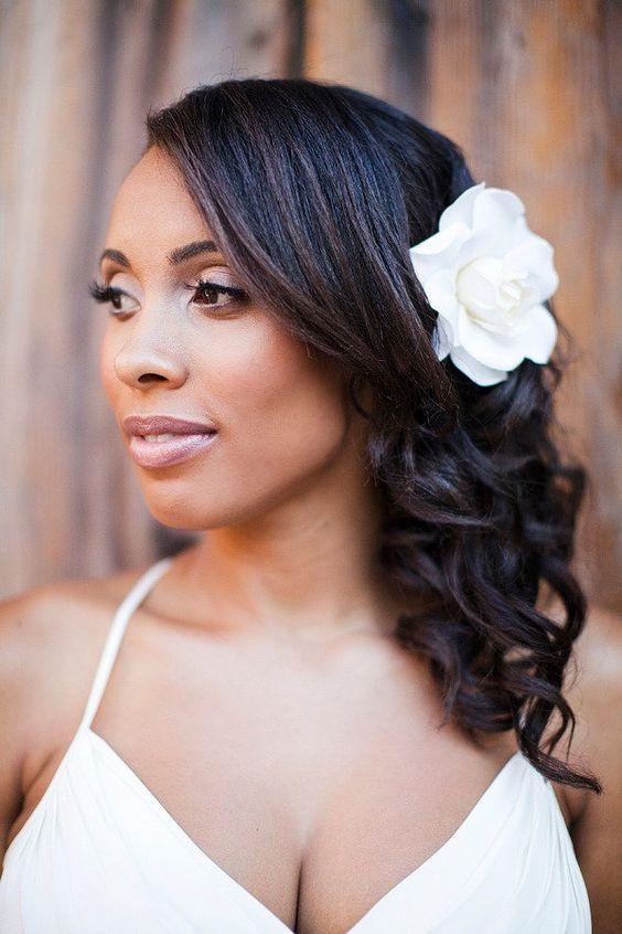43-black-wedding-hairstyles-for-black-women-side-swept-white-rose
