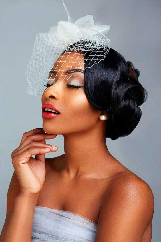43-black-wedding-hairstyles-for-black-women-smooth-low-with-veil