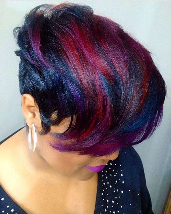 Purple And Black Bob Wig